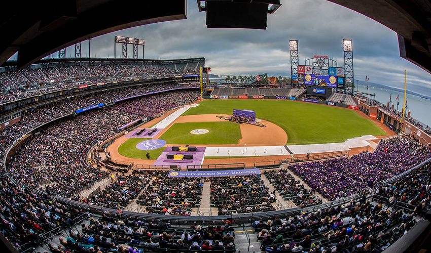 A panoramic photo of AT&T Park during last year's SF State Commencement ceremony.
