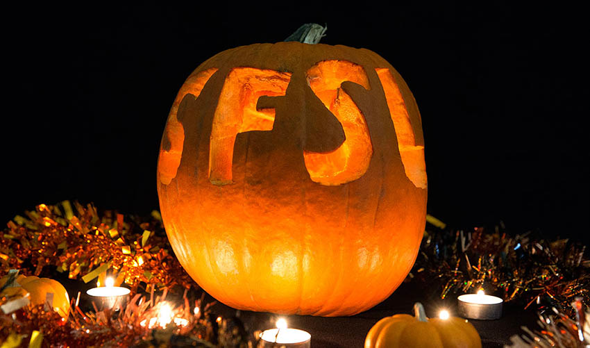jack-o'-lantern with SFSU carved into it