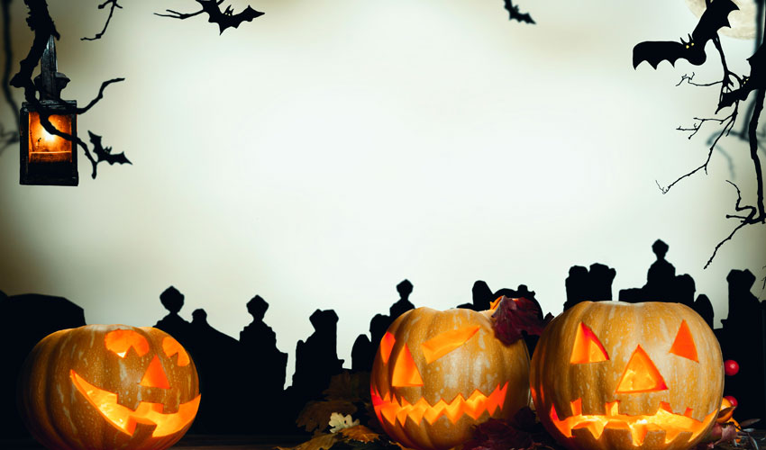Jack-o-lanterns, bats, spider webs and barren trees in a Halloween landscape
