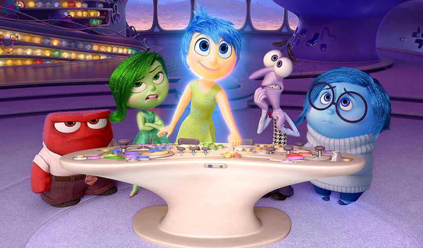 """Still frame image from Pixar movie """"Inside Out"""" shows five main characters"""