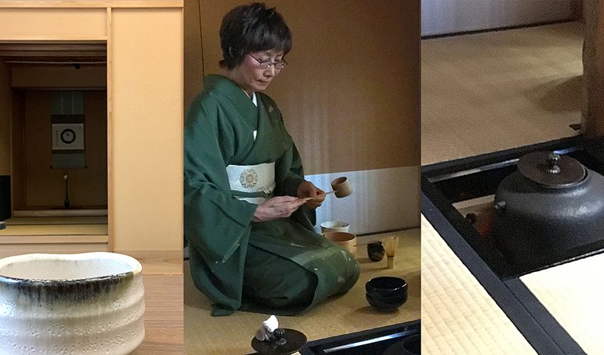 Collage of photos from a Japanese tea ceremony