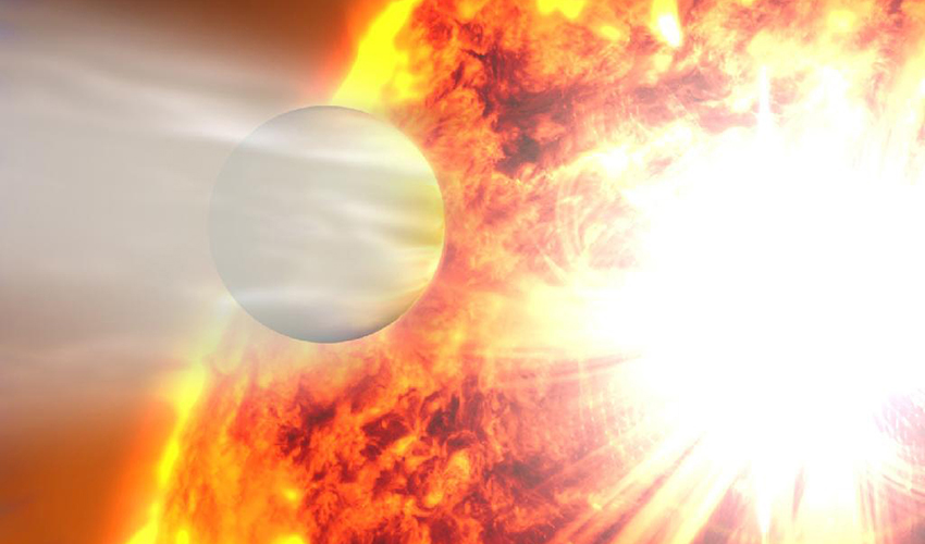 An artist's rendering of the planet HD 20782 passing by its star.