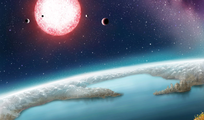 An artist's rendering of the surface of the exoplanet Kelper-186f.