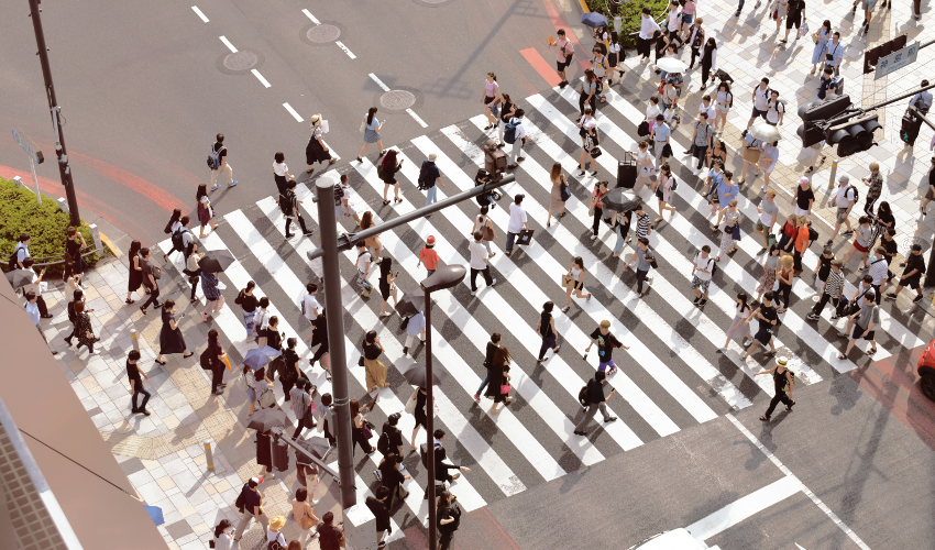 A crowd of people cross a crosswalk in Tokyo