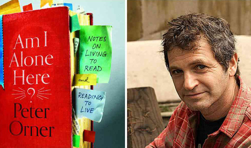 "The bright red cover of ""Am I Alone Here"" appears on the left, author Peter Orner on the right"