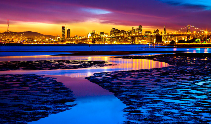 A photo of San Francisco Bay salt marshes in the foreground with the San Francisco skyline in the background, at dusk.