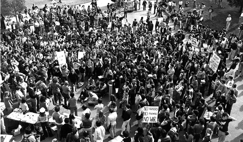 Anti-war demonstrators gather on the SF State Quad to protest against U.S. military involvement in Vietnam.