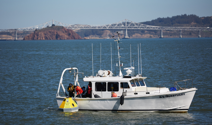 A new buoy floating just offshore of the Estuary and Ocean Science Center represents the first effort to conduct long-term monitoring of acidification in the Bay.