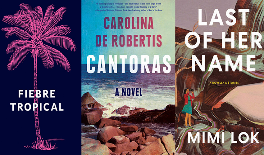 The covers of the three novels by SF State alums and faculty