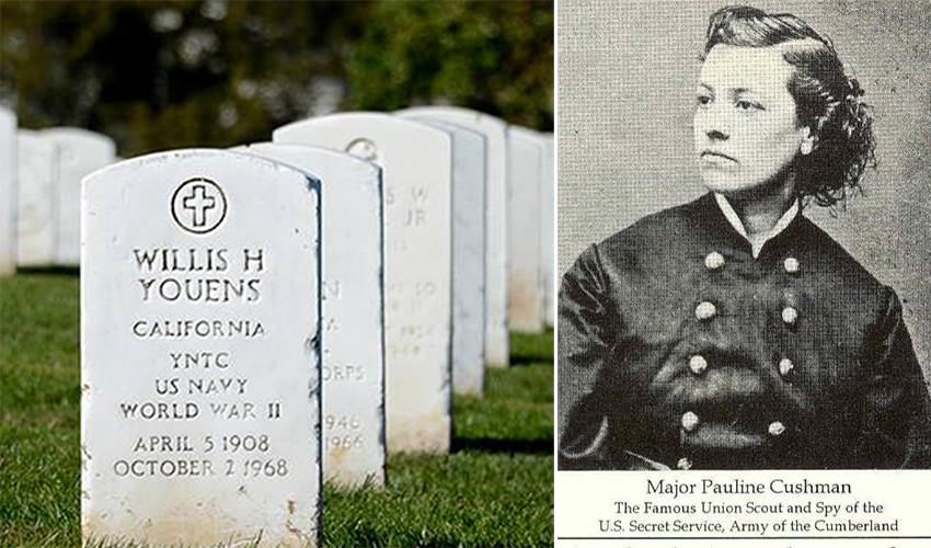Split image of a female Civil War veteran and a shot of headstones in a national cemetery