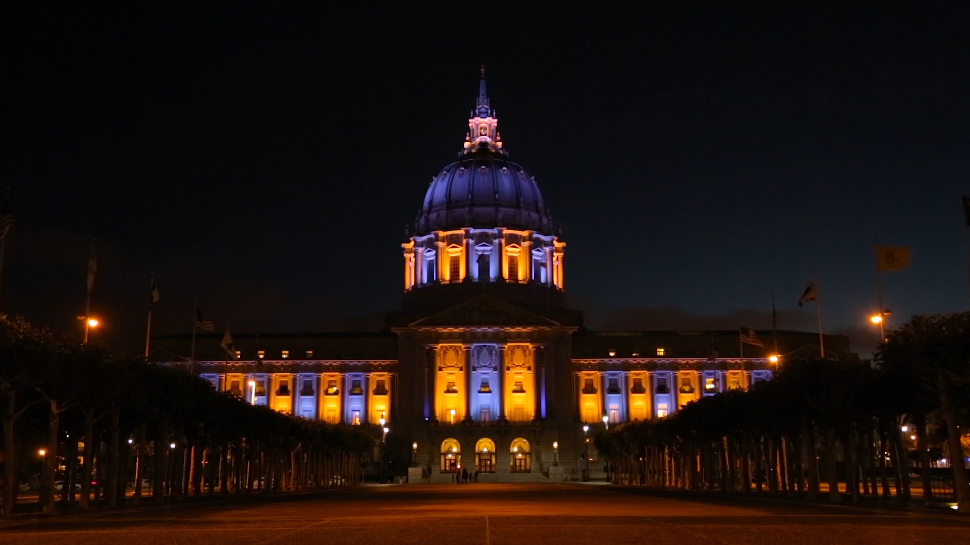 San Francisco City Hall with purple and gold lights