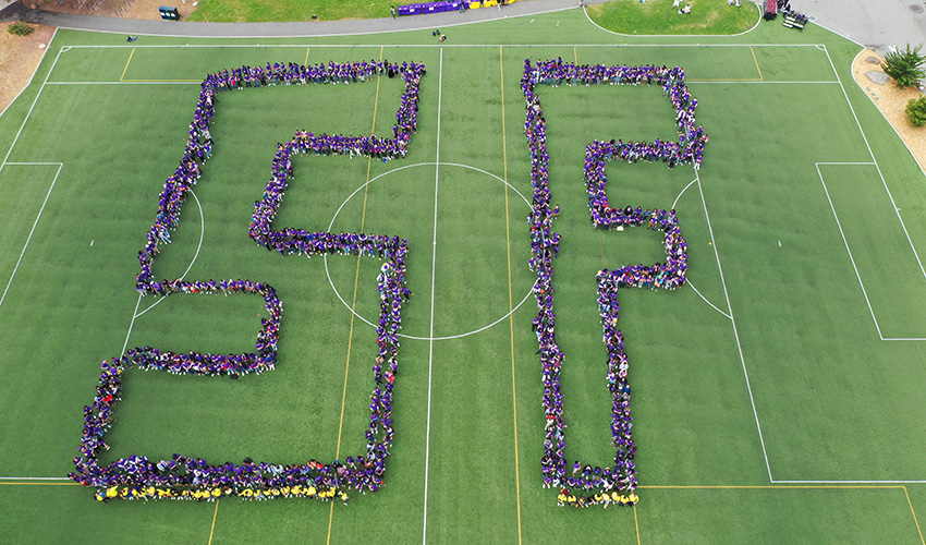 Aerial photo of students on a field dressed in purple T-shirts