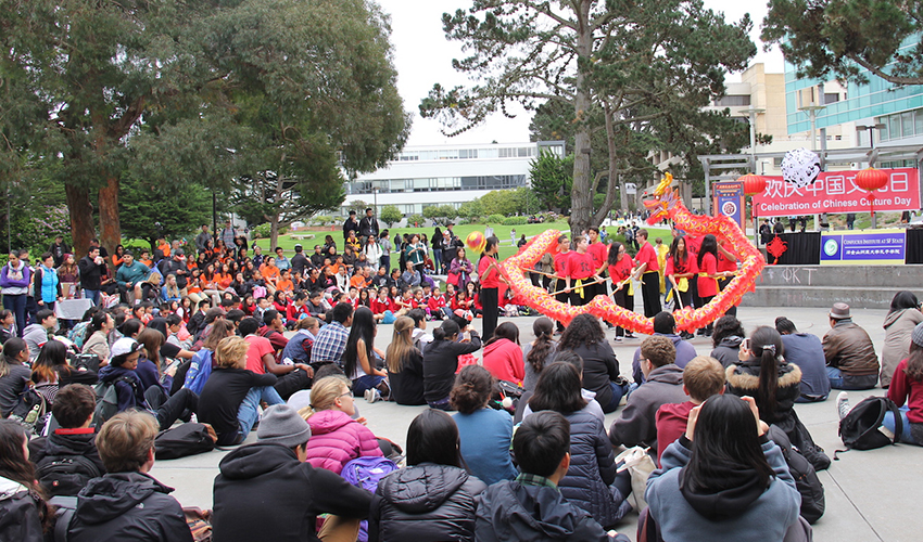Chinese lion dancing at SF State