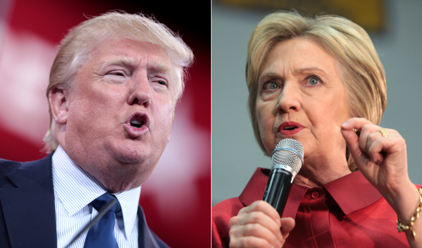 Hillary Clinton speaking into a microphone and Donald Trump speaking