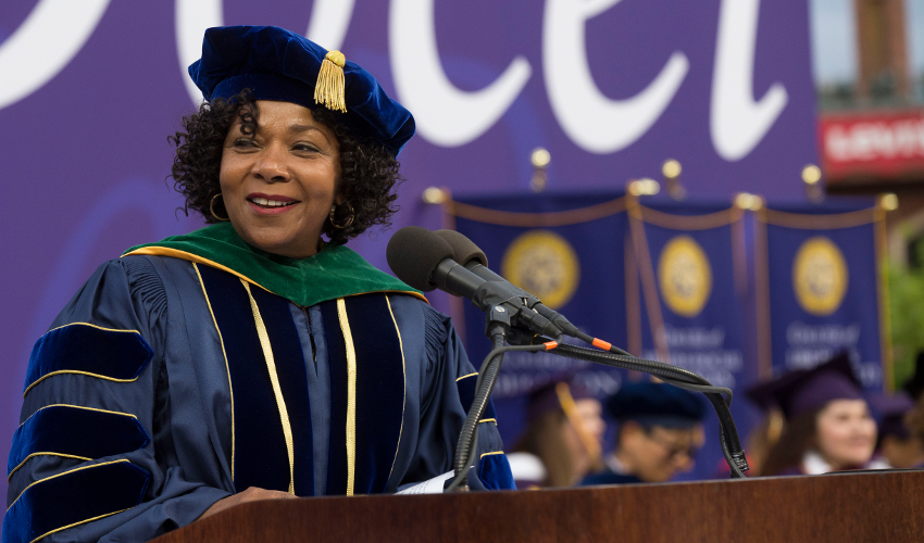 Ramona Tascoe addresses the SF State class of 2018