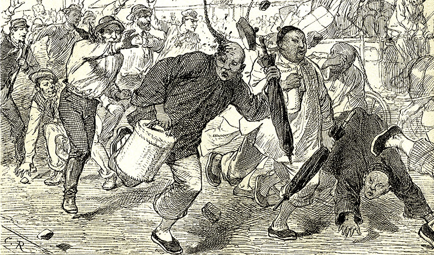 Illustration showing Chinese immigrants being attacked in San Francisco.