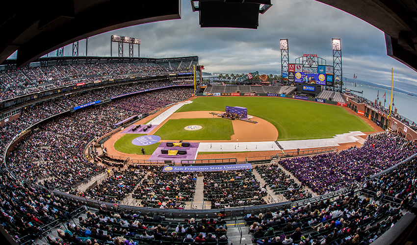 A photo of AT&T Park during SF State Commencement 2015.