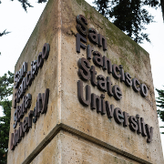 """A concrete sign bearing the words """"San Francisco State University"""""""