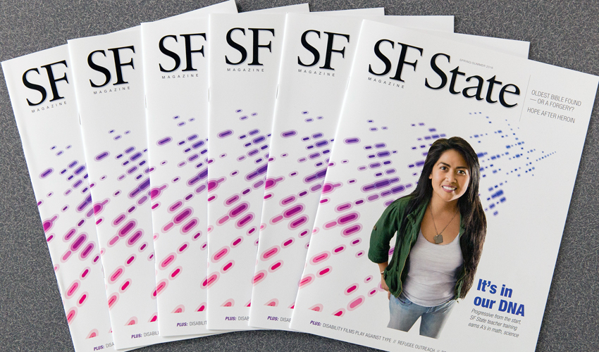 The cover of SF State Magazine spring/summer 2016 edition of is displayed, featuring a photo of SF State alumna and Sequoia High School science teacher Donna Dela Calzada.