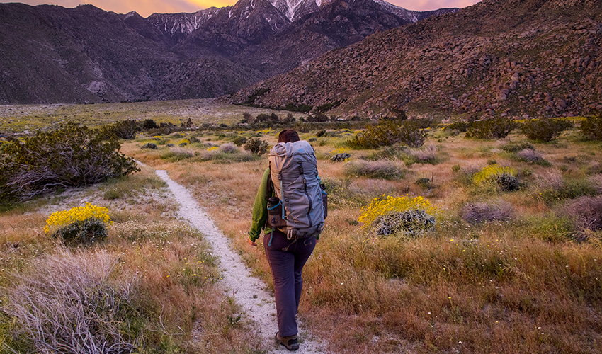 Person with a backpack walking along trail with mountains in the background.