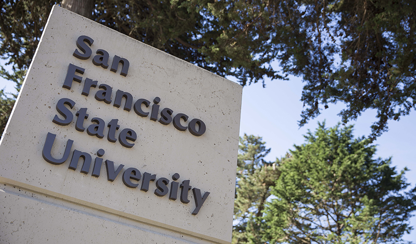 """Sign that reads """"San Francisco State University"""""""