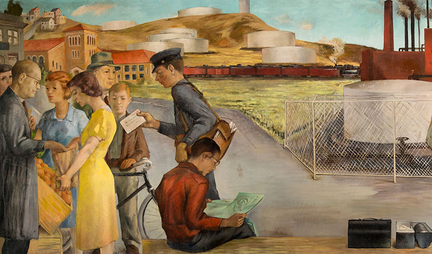 A mural shows oil refineries, a train moving through the background, a postman delivering a letter, a man reading a newspaper while sitting on a bench, four men standing and chatting with one another and people shopping for groceries in Richmond, California, in 1940.