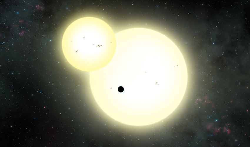 An artist's rendering of the simultaneous stellar eclipse and planetary transit events on Kepler-1647b
