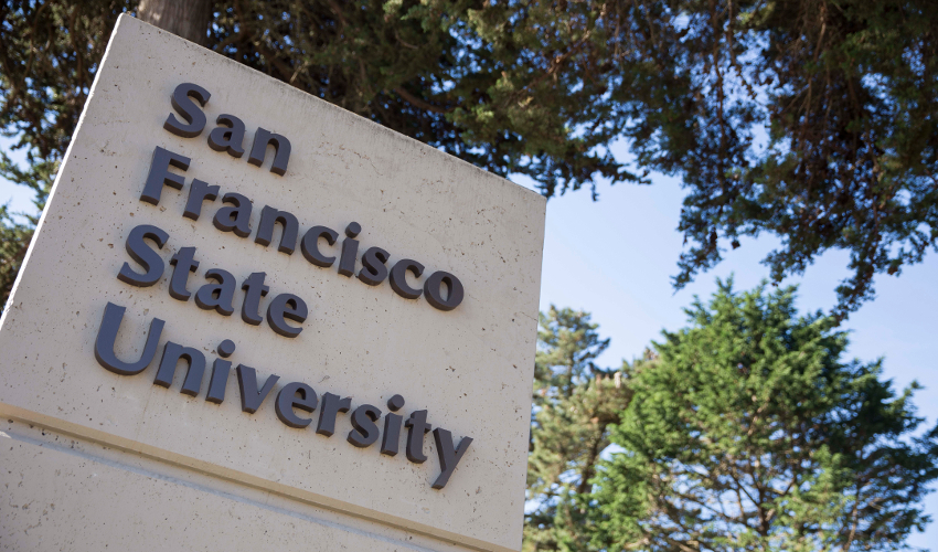 "A sign reading ""San Francisco State University"""