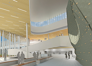 A rendering of the lobby of the Mashouf Wellness Center