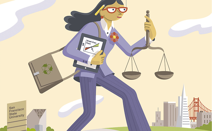 Illustration of a businesswoman walking from SF State to downtown San Francisco