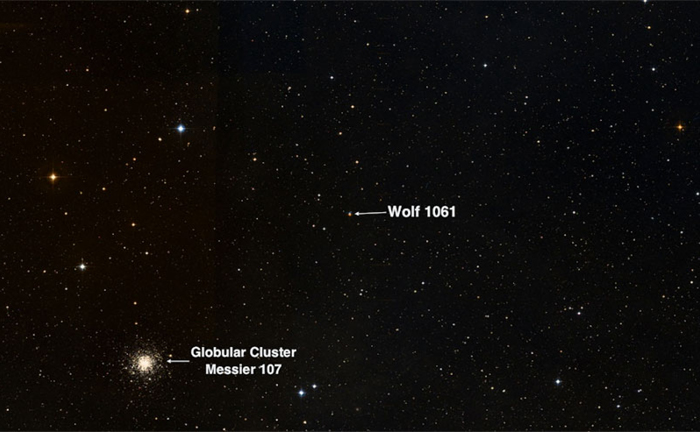 Globular Cluster Messier 107 (left) and Exoplanet Wolf 1061 (right)