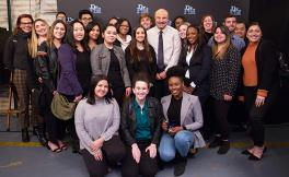 Dr. Phil McGraw with his show's interns and staff, many of whom are SF State alum and students.