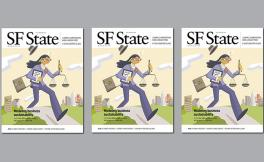 The cover of the SF State magazine features an illustration of a multitasking person