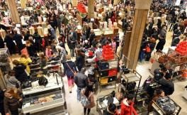 A crowded shopping mall during the holiday season