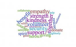A brightly colored word cloud that includes words such as benefit, strength, kindness, heroic and donate