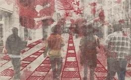 Artwork depicts young people walking away
