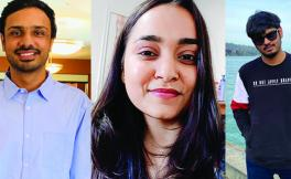 head shots of SF State graduate students Jugal Bhatt (left); Shraddha Upadhyay (center) and Kunal Shah
