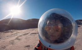 Photo of Analog Mars trainee participating in simulation at Mars Desert Research Station