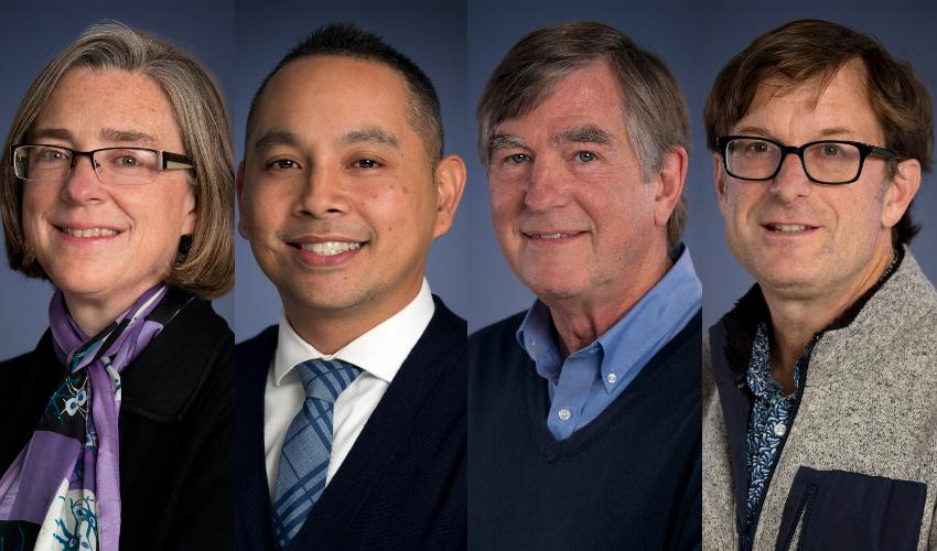 Four faculty members pose for the camera against gray backdrops