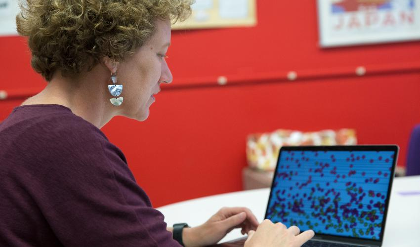 Woman, seated, looking at laptop computer with red background