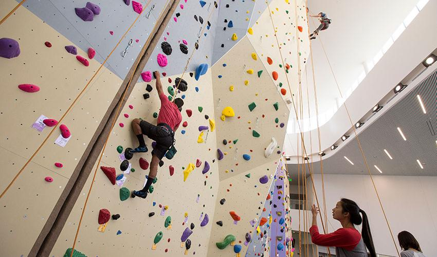 Three students climb on the colorful new climbing wall at the Mashouf Wellness Center.