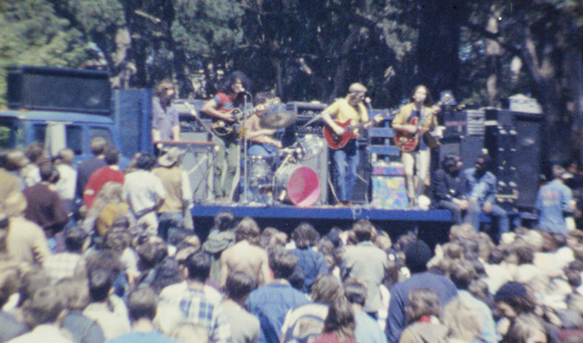 Grateful Dead plays music on a stage in Golden Gate Park