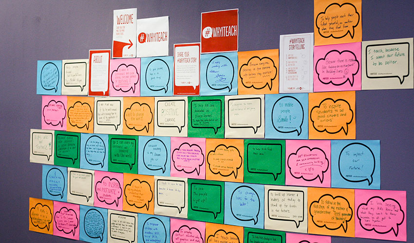 A billboard full of colorful Post-It notes with ideas for best-practices was used at last year's California Teachers Summit.