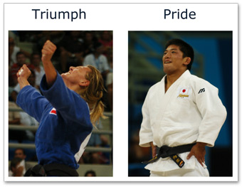 Photo of two Olympic athletes, one showing an expression of triumph with fists in the air and the other showing pride, with their hands out to their side