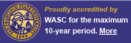 "SF State log with message ""Proudly accredited by WASC for the maximum 10-year period"" with a link to more information"
