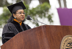 Photo of Belva Davis at SF State's Commencement