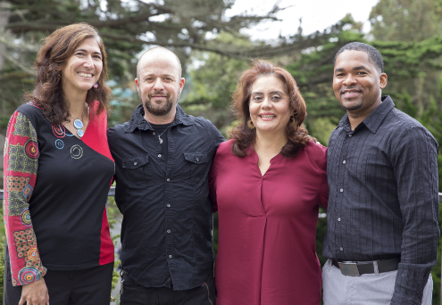Photo of Professor of Biology Carmen Domingo, Associate Professor of Cognitive Psychology Avi Ben-Zeev, Professor of Biology and Lead Investigator for SF BUILD Leticia Márquez-Magaña and Associate Professor of Chemistry/Biochemistry Teaster Baird Jr.