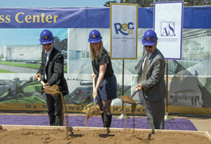 Manny Mashouf, Phoebe Dye and President Les Wong participate in the Wellness Center Groundbreaking