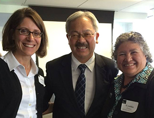 (From left to right) Jessica Wolin, Mayor Ed Lee and Cynthia Gomez stand next to each other.
