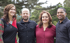 Professor of Biology Carmen Domingo, Professor of Psychology Avi Ben-Zeev, Professor of Biology and Lead Investigator for SF BUILD Leticia Márquez-Magaña and Associate Professor of Chemistry/Biochemistry Teaster Baird Jr.